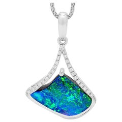 Australian Opal and Diamond Pendant in 18 Karat White Gold