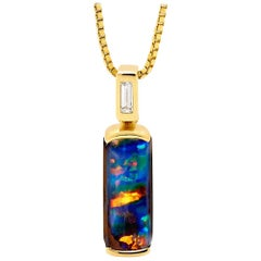 Opal Minded 2.54ct Australian Opal and Diamond Pendant in 18K Yellow Gold