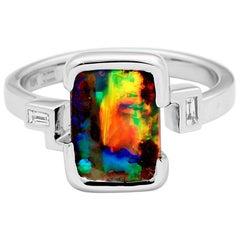 Australian Opal and Diamond Ring in 18 Karat White Gold