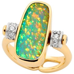 Opal Minded 6.6ct Australian Opal and Diamond Ring Pendant in 18K Yellow Gold