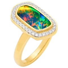 Australian 3.44ct Boulder Opal and Diamond Transformer Ring 18K Yellow Gold