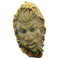 Australian Opal Carved Face Gold Ring-Pendant