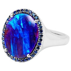 Australian Opal Cocktail Ring in 18 Karat White Gold with Sapphires