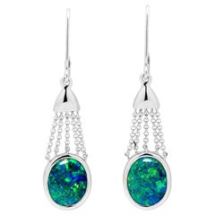 Australian Opal Dangle Earrings in 18 Karat White Gold