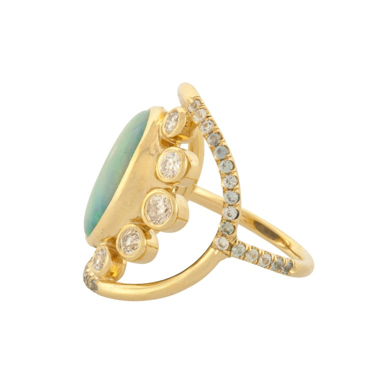 Contemporary Mociun Australian Opal, Diamond and Sapphire Ring For Sale
