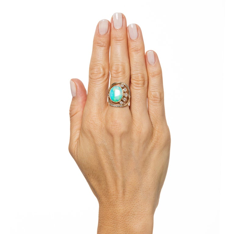 Mociun Australian Opal, Diamond and Sapphire Ring In New Condition For Sale In Brooklyn, NY