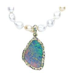Australian Opal, Diamond, Blue Sapphire, and Tsavorite Starry Night Pendant
