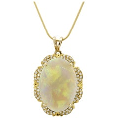 Australian Opal Diamond Gold Pendant