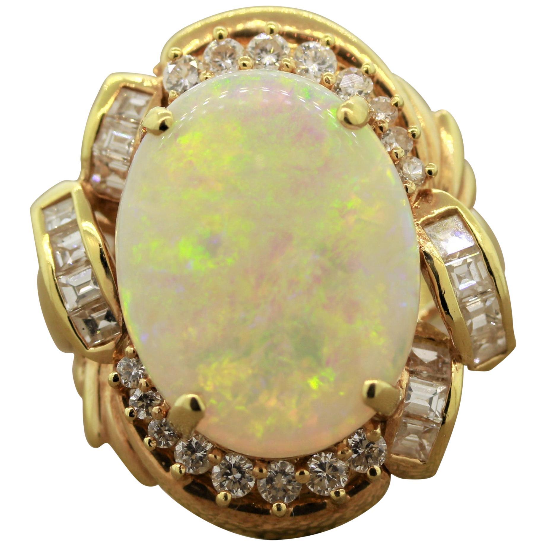 Australian Opal Diamond Gold Ring