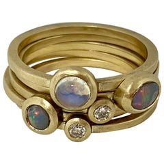 Australian Opal Diamond Moonstone Fine 18 Karat Yellow Gold Stacking Ring