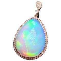 Opal Diamond Necklace 18 Karat White Gold