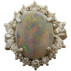 Australian Opal Diamond Platinum Cocktail Ring
