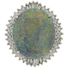 Australian Opal Diamond Platinum Ring
