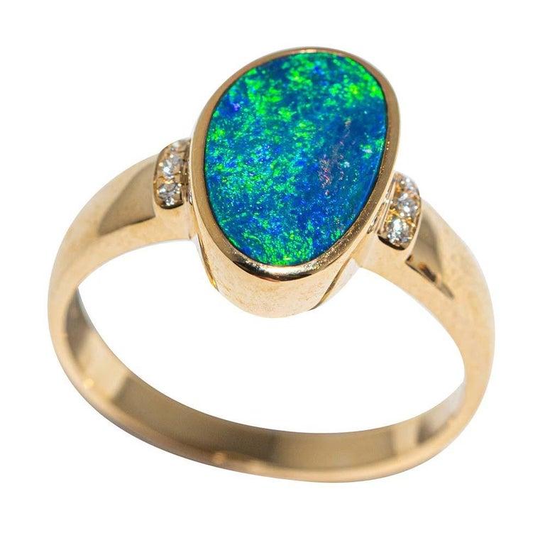 Contemporary Australian Opal Diamond Ring 14 Karat Yellow Gold For Sale