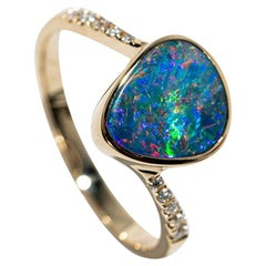 Australian Opal Diamond Ring 14k Yellow Gold