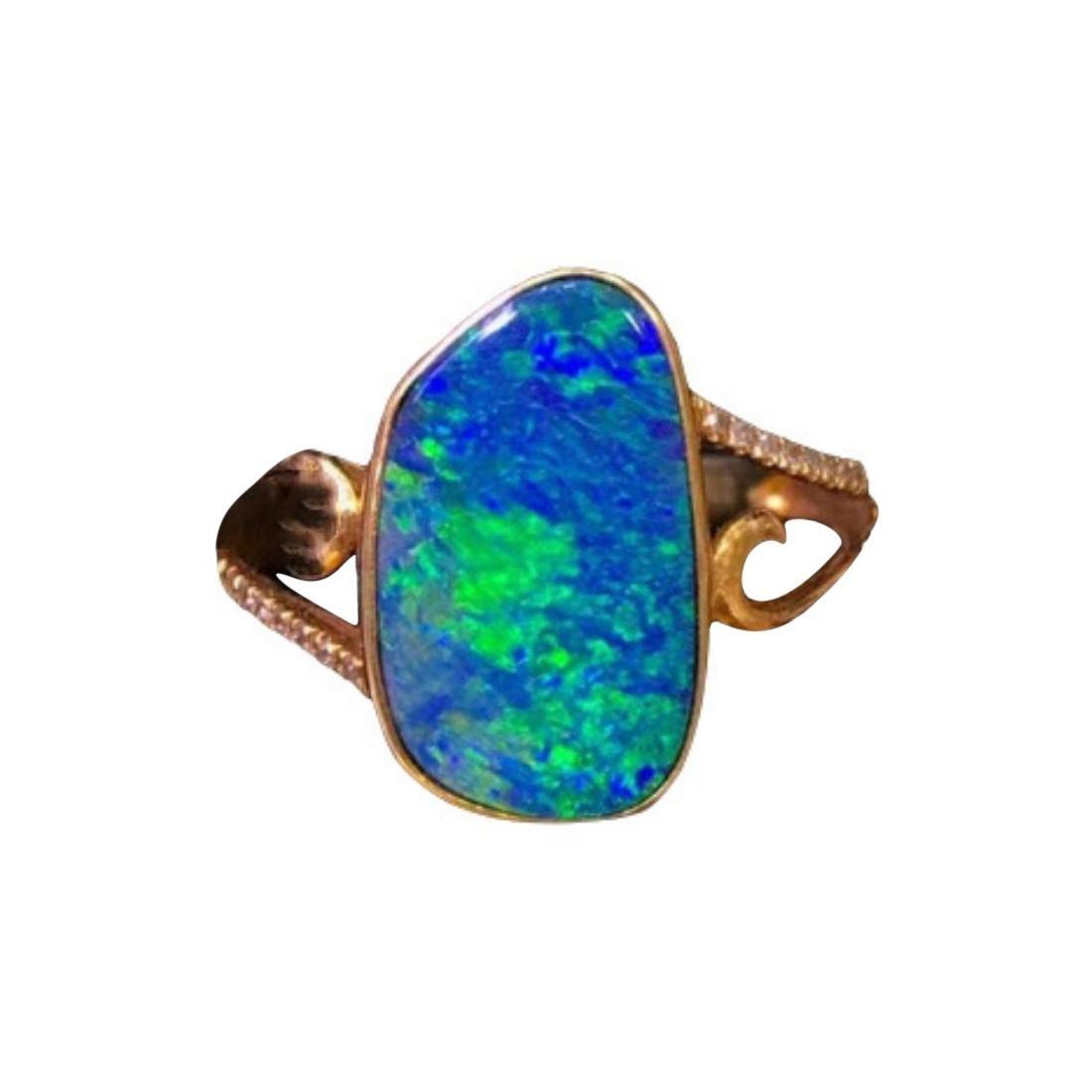 Australian Opal Diamond Ring 18k Yellow Gold