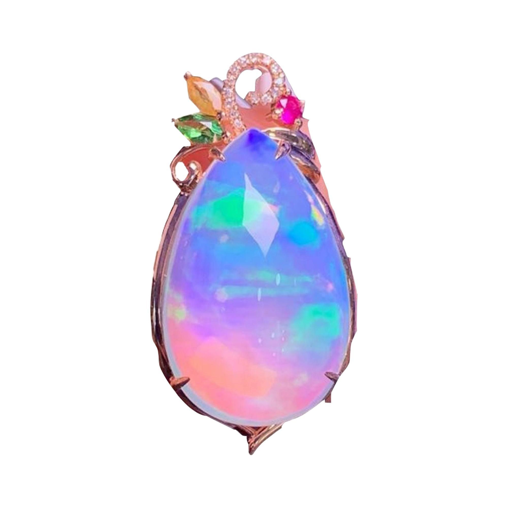 Australian Opal Diamond Ruby Necklace 18k Rose Gold