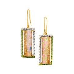 Australian 11.39ct Opal, Diamonds, Tsavourites Earrings 18K White Yellow Gold
