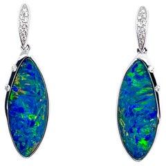 Opal Minded Australian Opal Doublet and Diamond Earrings in 18K White Gold