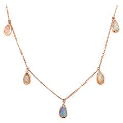 Australian Boulder Opal Necklace in 18K Rose Gold