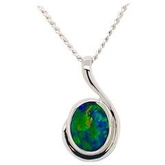 Australian Opal Doublet Pendant in 18K White Gold