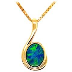 Opal Minded Australian Opal Doublet Pendant in 18K Yellow Gold