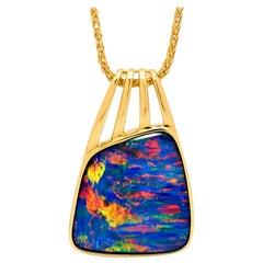 Australian 8.57ct Opal Doublet Pendant in 18K Yellow Gold