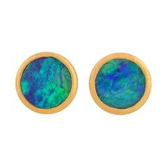 Australian Opal Doublet Stud Earrings in 18k Matte Yellow Gold