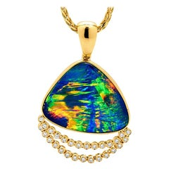 Australian Opal Doublets and Diamond Pendant in 18 Karat Yellow Gold