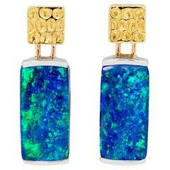 Australian Opal Drop Earrings in 18 Karat Yellow and White Gold