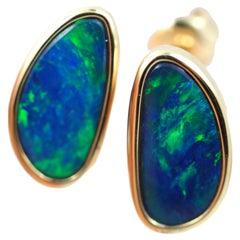 Australian Opal Earrings 14 Karat Yellow Gold