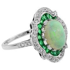 Australian Opal Emerald Diamond Cocktail Ring