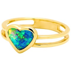 Australian Black Opal Engagement Ring in 18 Karat Yellow Gold