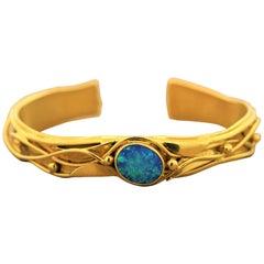 Australian Opal Gold Cuff Bracelet
