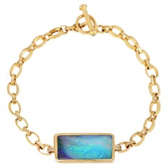 Australian Opal Handmade 18k Yellow Gold Chain Link Bracelet with Toggle Clasp