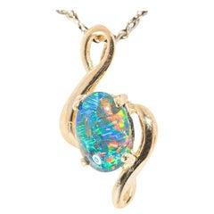Australian Opal Necklace 14 Karat Yellow Gold
