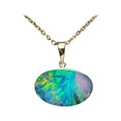 Australian Opal Necklace 14K Yellow Gold