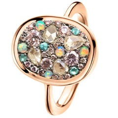 Australian Opal, Paraïba Tourmaline, Fancy Chocolate Pink Diamond Pave Ring