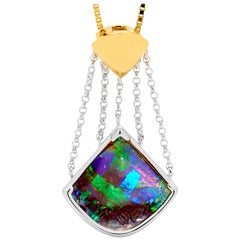 Australian Opal Pendant in 18 Karat White and Yellow Gold