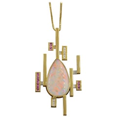 Australian Opal Pink Sapphire Diamond Gold Pendant