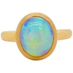 Australian Opal Ring, 18kt Brushed Yellow Gold, 2.29 Carat, Oval Bezel Set Opal