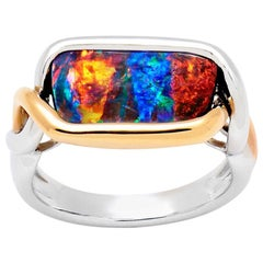 Australian 4.21ct Boulder Opal Ring in 18K White Gold and Rose Gold