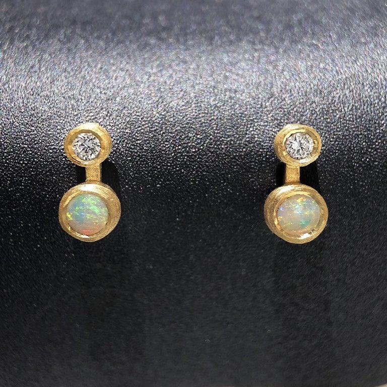 Modern Australian Opal White Diamond Satin Gold Handmade Stud Earrings For Sale