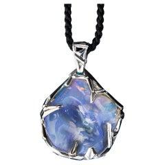 Australian Opal White Gold Pendant Raw Uncut Iridescent Lavender Purple Gemstone
