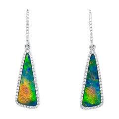 Opal Minded Australian Opals Doublet and Diamond Earrings in 18K White Gold