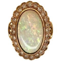 Australian Oval Cabochon Opal and Diamond 18 Karat Gold Hand Fabricated Ring