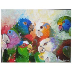 Australian Parrots, Large Oil Painting