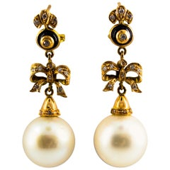 Australian Pearl 0.50 Carat White Diamond Onyx Yellow Gold Clip-On Earrings
