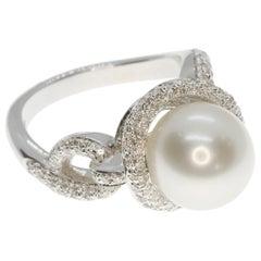 Australian Pearl and White Diamond Cocktail Ring in 18 Karat White Gold