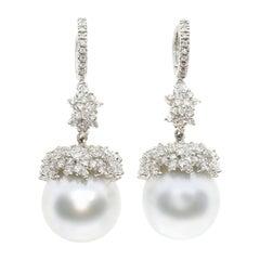 Australian Pearl and White Diamond Earrings in 18 Karat White Gold